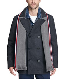 Men's Wool Blend Peacoat with Scarf