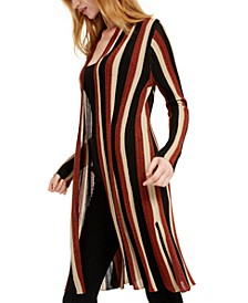 INC Striped Metallic Duster Cardigan, Created for Macy's