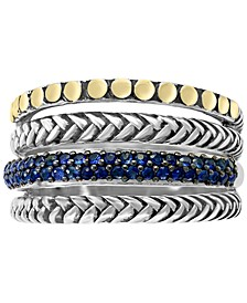 EFFY® Sapphire Multi-Row Stack Look Statement Ring (1/3 ct. t.w.) in Sterling Silver & 18k Gold