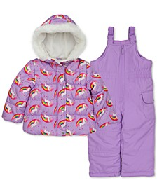 Toddler & Little Girls Unicorn-Print Jacket & Snowbib Snowsuit