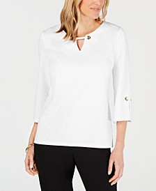 Petite Key Hole Textured Top, Creaded For Macys