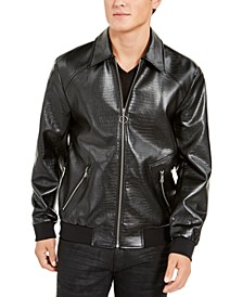 INC Men's Wild Embossed Coach Faux Leather Jacket, Created For Macy's