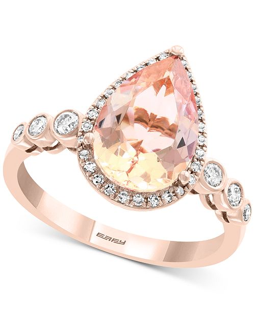 EFFY Collection EFFY® Morganite (3-5/8 ct. t.w.) & Diamond (1/4 ct. t.w.) Statement Ring in 14k Rose Gold