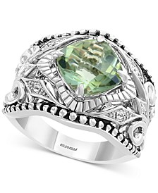 EFFY® Green Quartz (3 ct. t.w.) & White Sapphire (1/20 ct. t.w.) Statement Ring in Sterling Silver