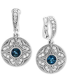 EFFY® London Blue Topaz (3/4 ct. t.w.) & White Sapphire (1/2 ct. t.w.) Drop Earrings in Sterling Silver