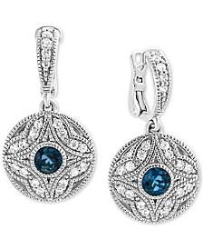 EFFY® London Blue Topaz (3/4 ct. t.w.) & White Sapphire (1/2 ct. t.w.) Drop Earrings in Sterling Silver