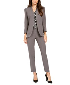 Anne Klein Open-Front Jacket, Printed Blouse, & Bowie Ankle Pants