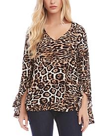 Flounce-Sleeve Leopard-Print Top