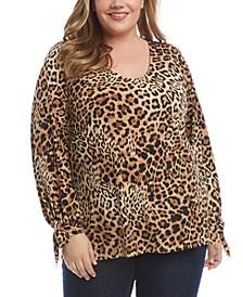 Plus Size Leopard-Print Tie-Cuff Top