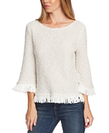 Vince Camuto Textured Fringed Top