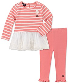 Baby Girls 2-Pc. Lace-Trim Tunic & Leggings Set
