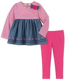 Baby Girls 2-Pc. Chambray Tunic & Leggings Set