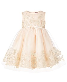 Baby Girls Floral-Appliqué Dress