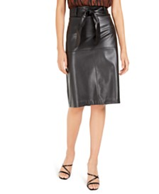 Bar III Printed Mock-Neck Blouse & Faux-Leather Skirt, Created For Macy's