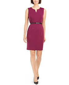 Split-Neck Belted Sheath Dress