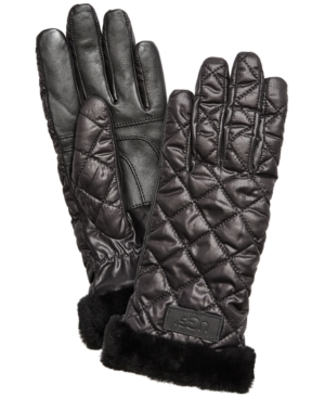 Ugg Quilted Shearling-cuff Tech Gloves In Black