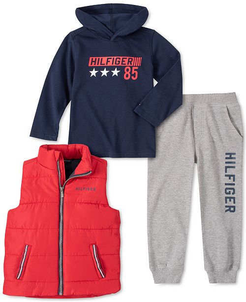 Tommy Hilfiger Baby Boys 3-Pc. Vest, Hoodie & Pants Set