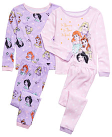 AME Little & Big Girls 4-Pc. Cotton Princess Pajama Set