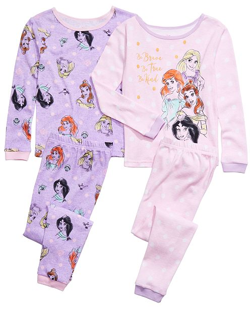 AME Little & Big Girls 4-Pc. Cotton Princess Pajama Set