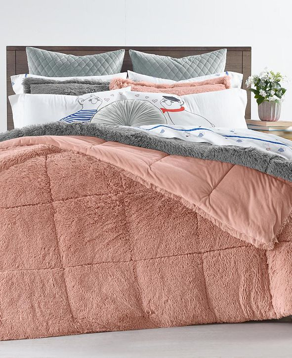 Martha Stewart Collection Shaggy Faux Fur Full/Queen 3-Pc. Comforter Set, Created for Macy's