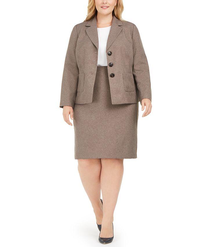 Le Suit - Plus Size 3-Button Slim Skirt Suit