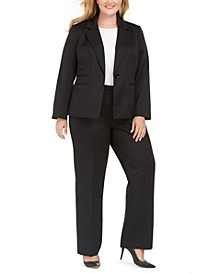 Plus Size One-Button Tonal-Stripe Pants Suit