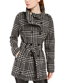 Juniors' Plaid Polar-Fleece Trench Coat