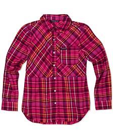 Big Girls Frayed Flannel Shirt