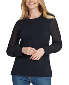DKNY Sheer-Sleeve Sweater