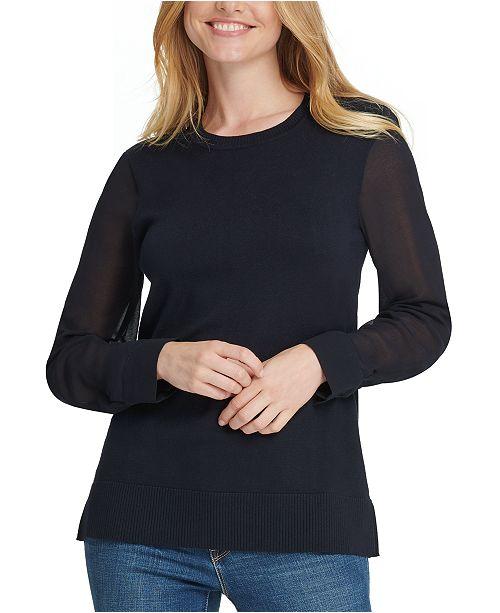 DKNY Sheer-Sleeve Sweater