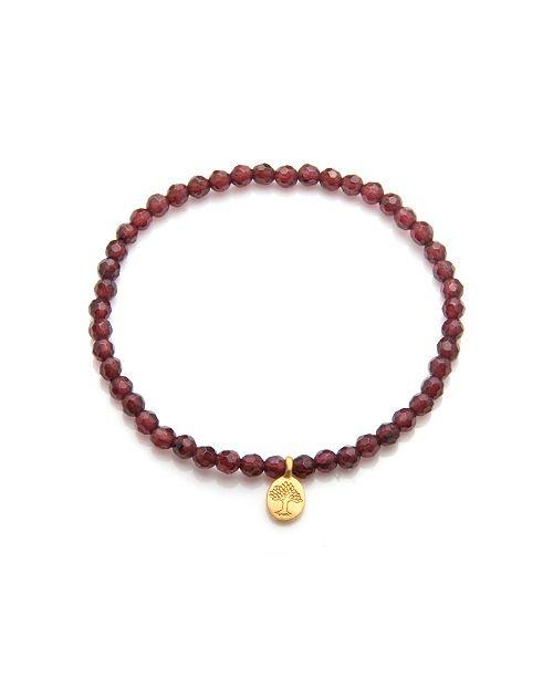 Satya Jewelry Red Garnet Gold Mini Tree Of Life Stretch Bracelet