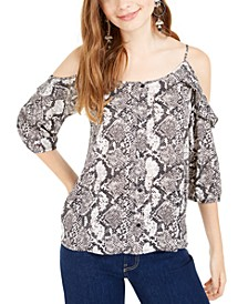 Juniors' Ruffle-Trimmed Cold-Shoulder Top