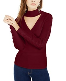 Hippie Rose Juniors' Mock-Neck Cutout Sweater