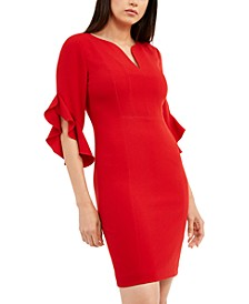 Natanya Flutter-Sleeve Dress