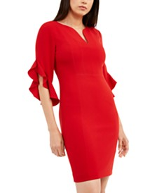 Elie Tahari Natanya Flutter-Sleeve Dress