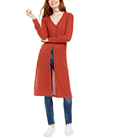 Almost Famous Juniors' Button-Down Ribbed Tunic