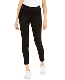 Juniors' Faux Suede-Front Ponte-Knit Leggings