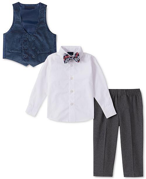 Nautica Baby Boys 4-Pc. Plaid Bowtie, Shirt, Double-Breasted Vest & Pants Set