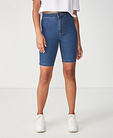 High Rise Denim Bike Short
