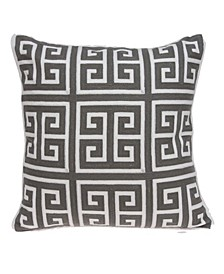 Adora Transitional Grey and White Pillow Cover with Polyester Insert