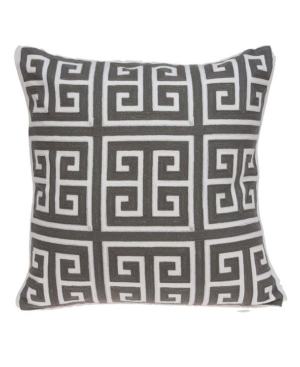 Parkland Collection Adora Transitional Grey and White Pillow Cover with Polyester Insert
