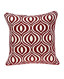 Altia Transitional Red and White Pillow Cover with Polyester Insert