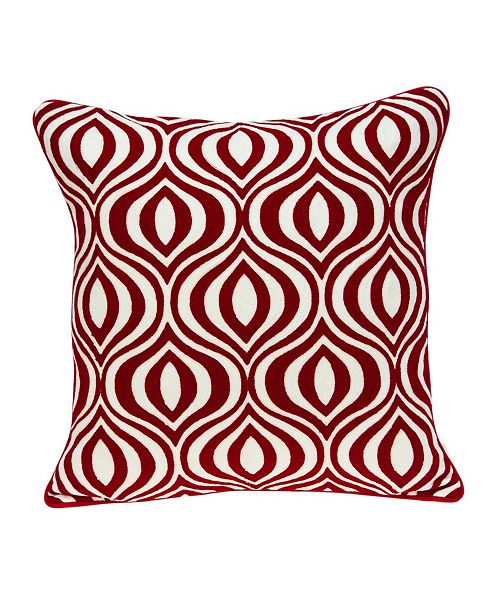 Parkland Collection Altia Transitional Red and White Pillow Cover with Polyester Insert