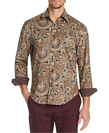 Men's Slim-Fit Performance Stretch Paisley Long Sleeve Shirt