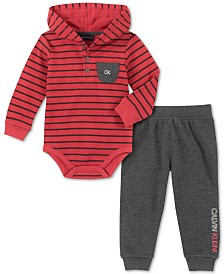 Calvin Klein Baby Boys 2-Pc. Striped Thermal Bodysuit & Fleece Jogger Pants Set