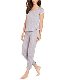 Betsey Johnson Lace-Trim Top and Pants Pajamas Set