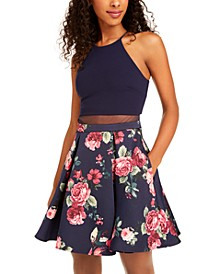 Juniors' Illusion Floral-Print Fit & Flare Dress