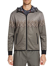 Men's Slim-Fit Stretch Geo Print Hoodie