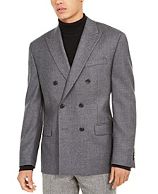 Men's Classic-Fit Twill Double-Breasted UltraFlex Sport Coat