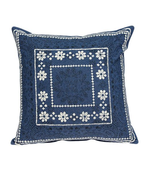 Parkland Collection Ronak Traditional Blue Pillow Cover With Down Insert